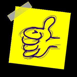Sticker Haftnotiz Thumbs Up